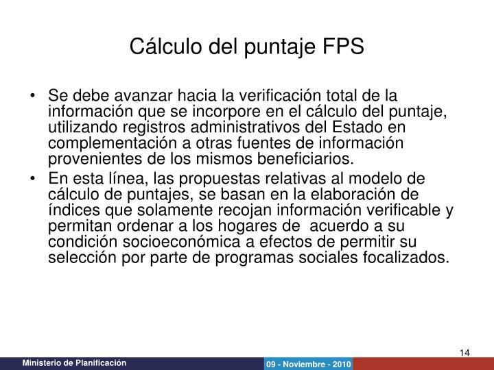 Cálculo del puntaje FPS