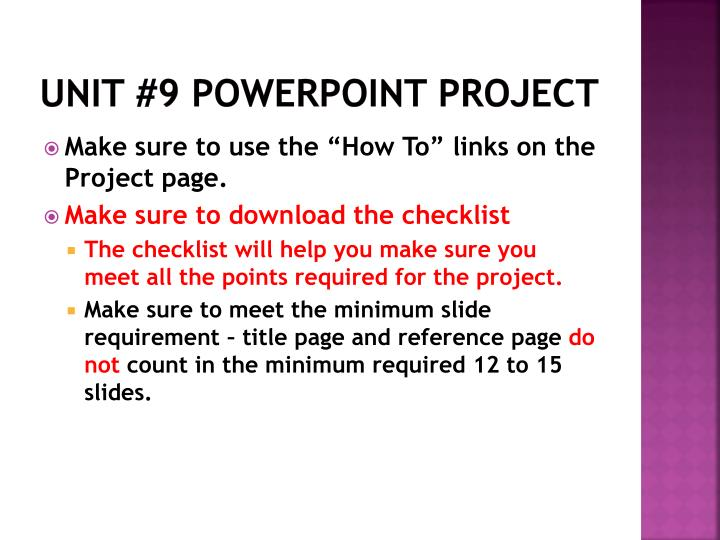 Unit 9 powerpoint project