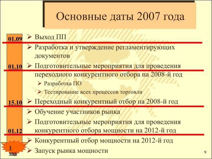 Основные даты 2007 года
