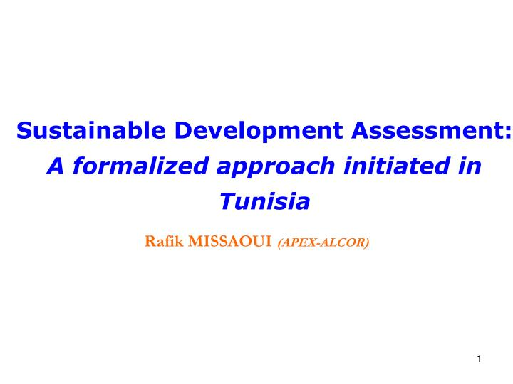 Sustainable Development Assessment: