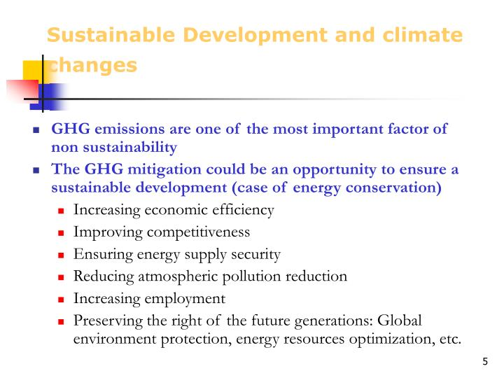 Sustainable Development and climate changes