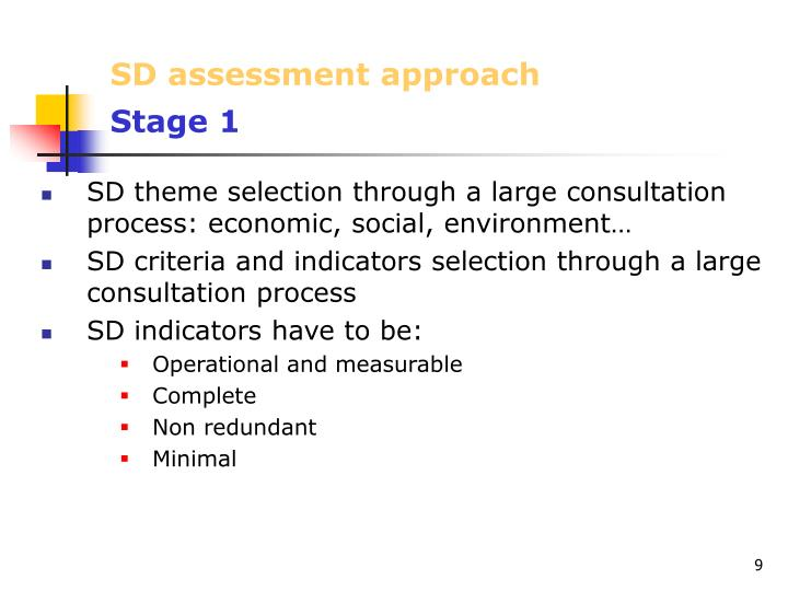 SD assessment approach