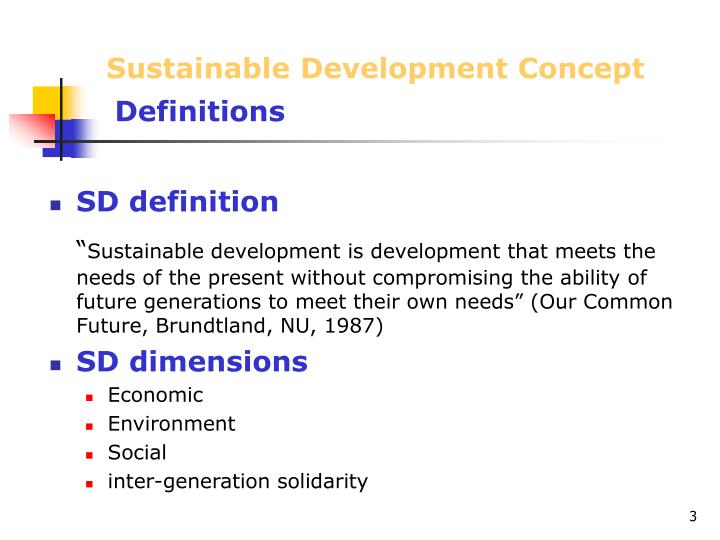 Sustainable development concept definitions