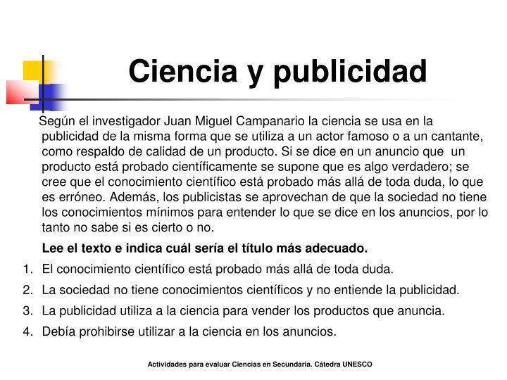 Ciencia y publicidad