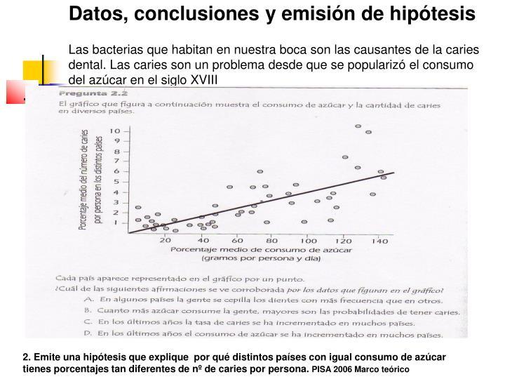 Datos, conclusiones y emisión de hipótesis
