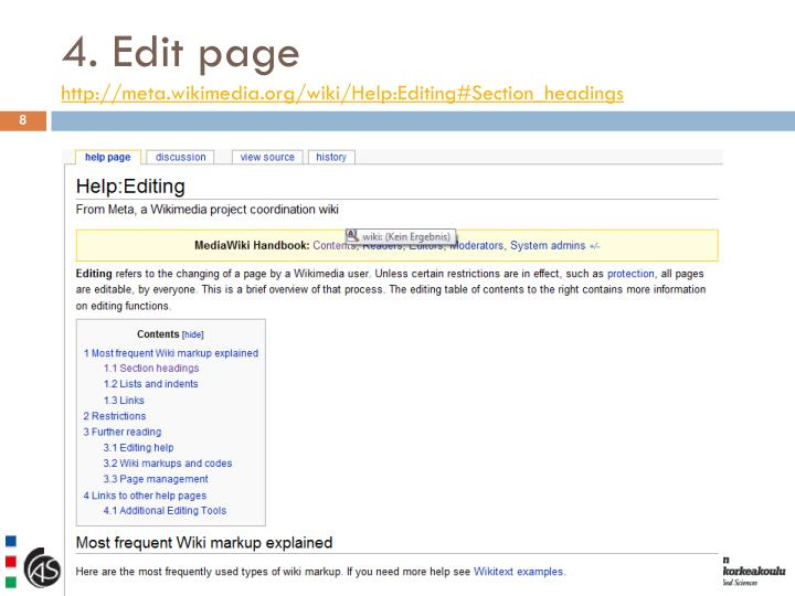 4. Edit page