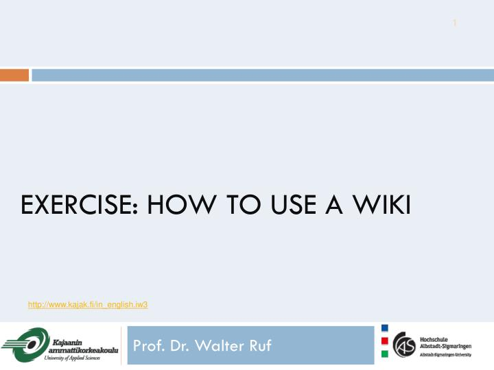 exercise how to use a wiki