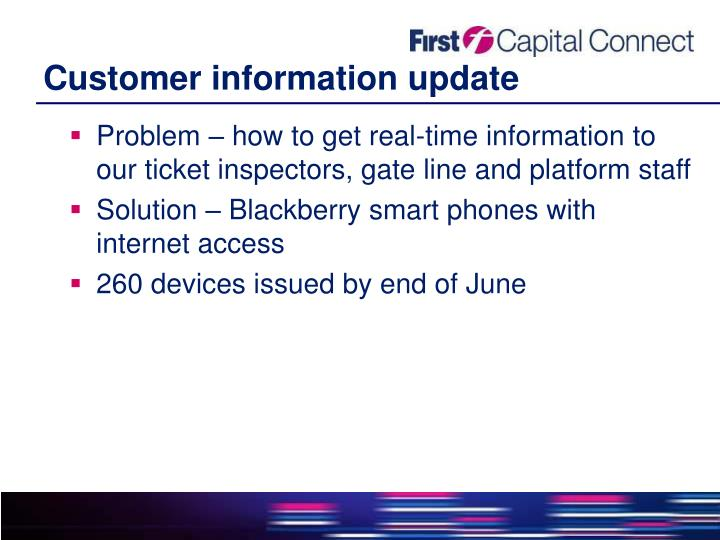 Customer information update