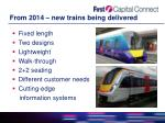 from 2014 new trains being delivered