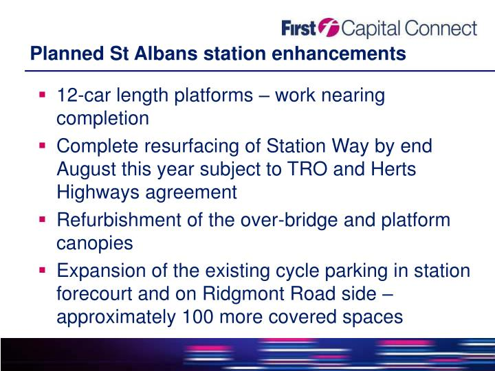 Planned St Albans station enhancements