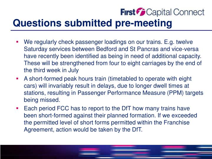 Questions submitted pre-meeting