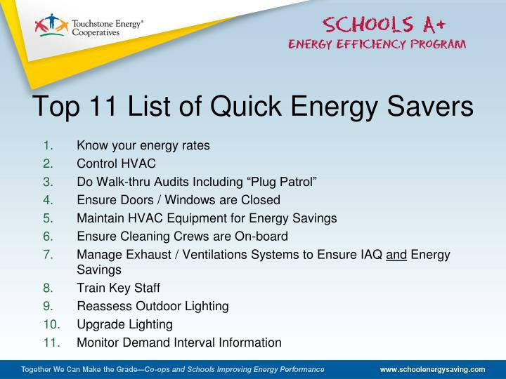 Top 11 List of Quick Energy Savers
