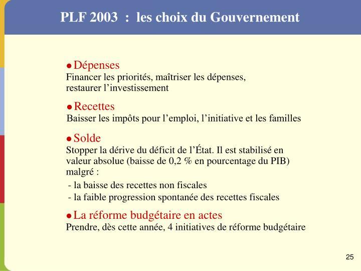 PLF 2003  :  les choix du Gouvernement