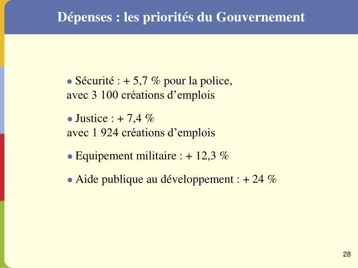 Dépenses : les priorités du Gouvernement