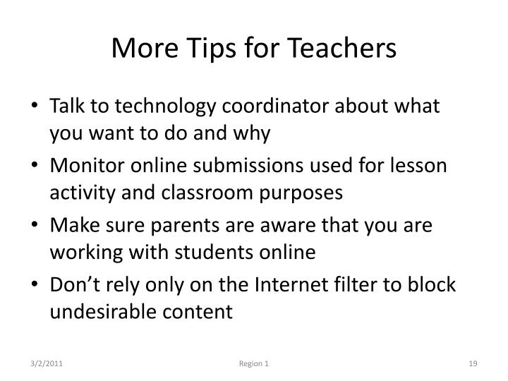 More Tips for Teachers
