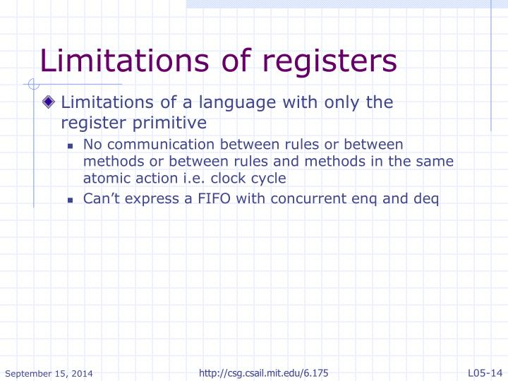 Limitations of registers