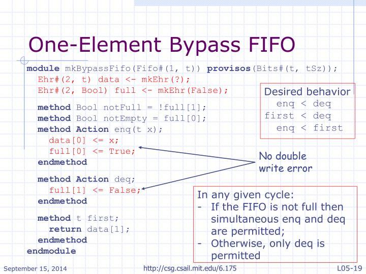One-Element Bypass FIFO