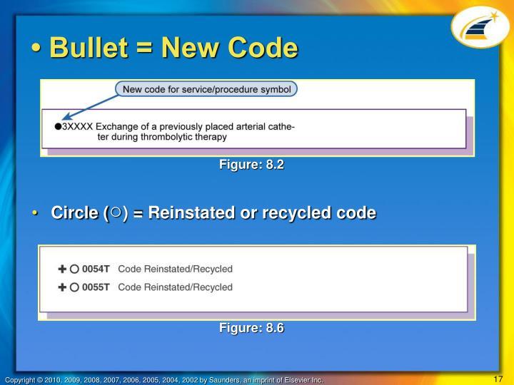 • Bullet = New Code