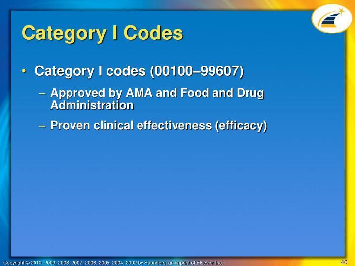 Category I Codes