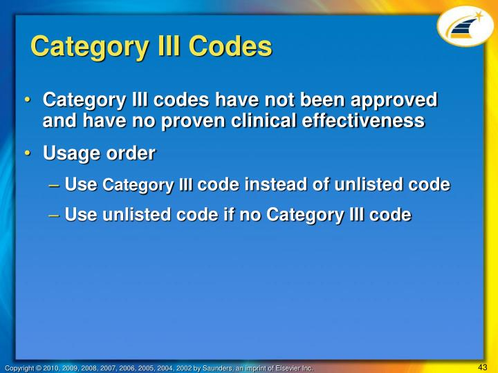 Category III Codes