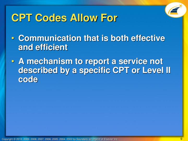 CPT Codes Allow For