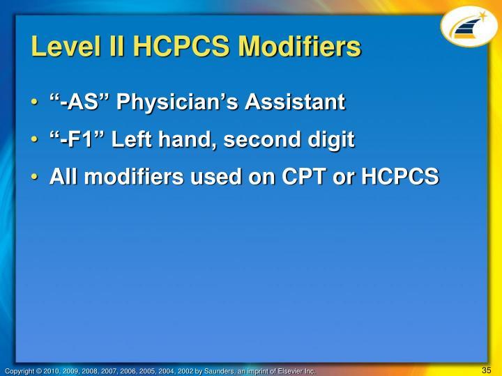 Level II HCPCS Modifiers