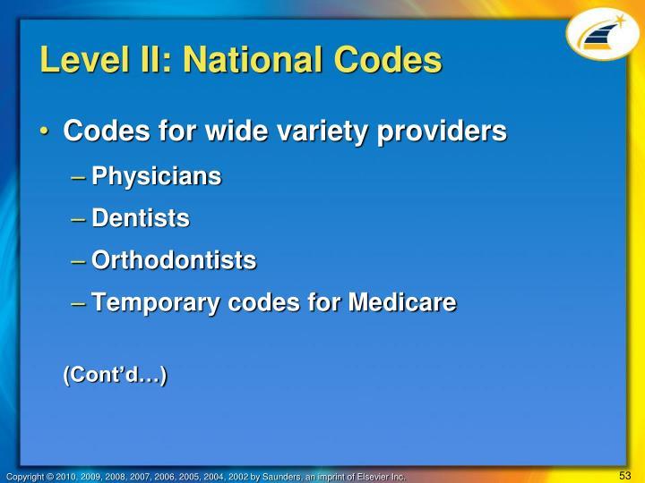 Level II: National Codes