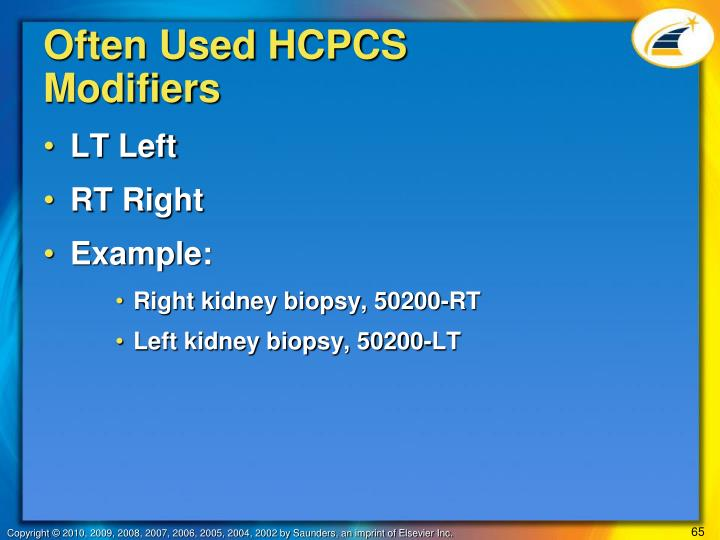 Often Used HCPCS Modifiers