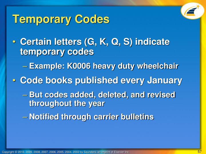 Temporary Codes
