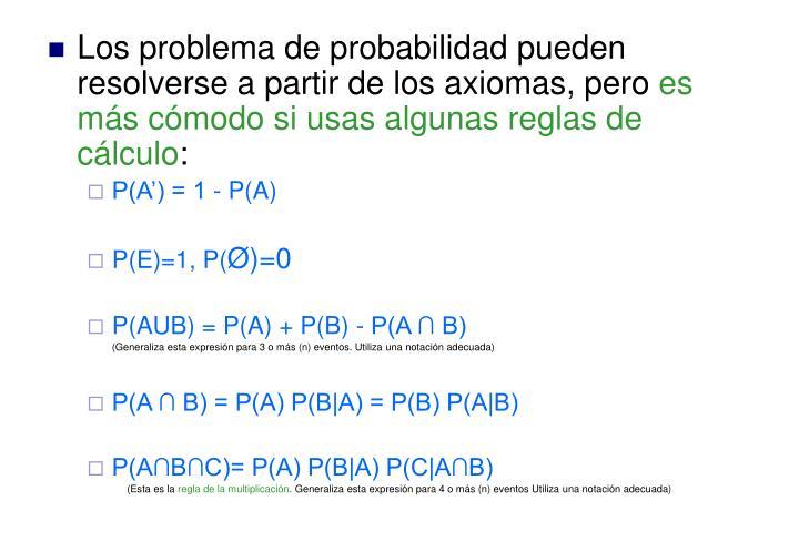 Los problema de probabilidad pueden resolverse a partir de los axiomas, pero
