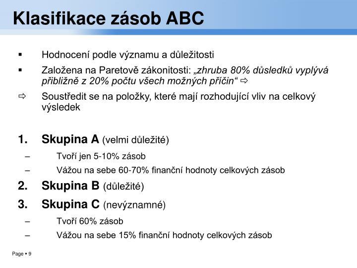 Klasifikace zásob ABC