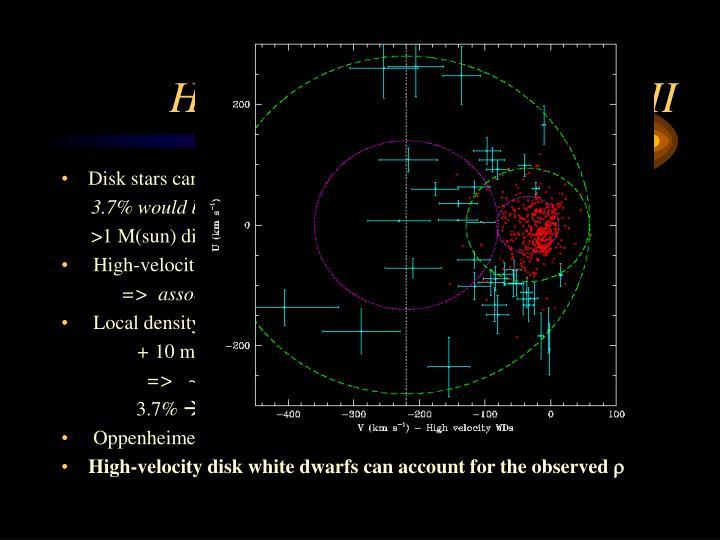 High-velocity disk dwarfs: II
