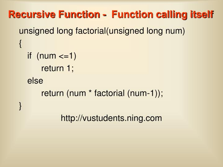 Recursive Function -  Function calling itself