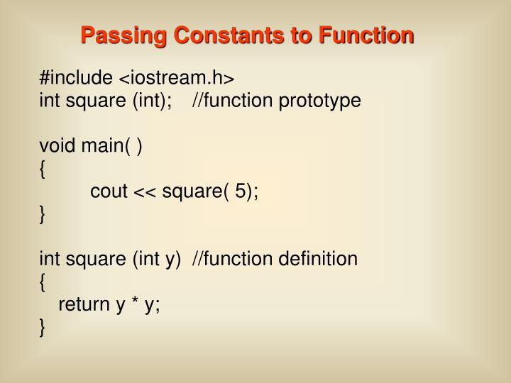 Passing Constants to Function