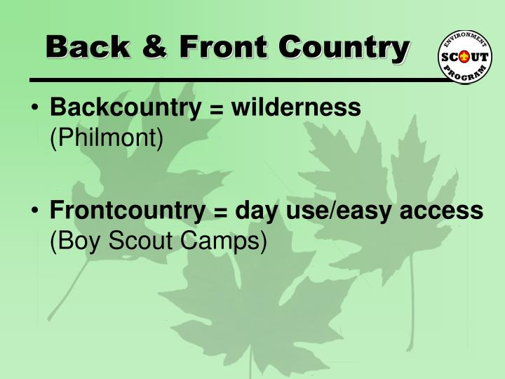 Back & Front Country