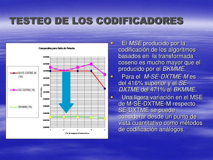TESTEO DE LOS CODIFICADORES