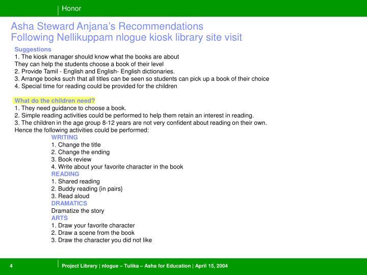 Asha Steward Anjana's Recommendations