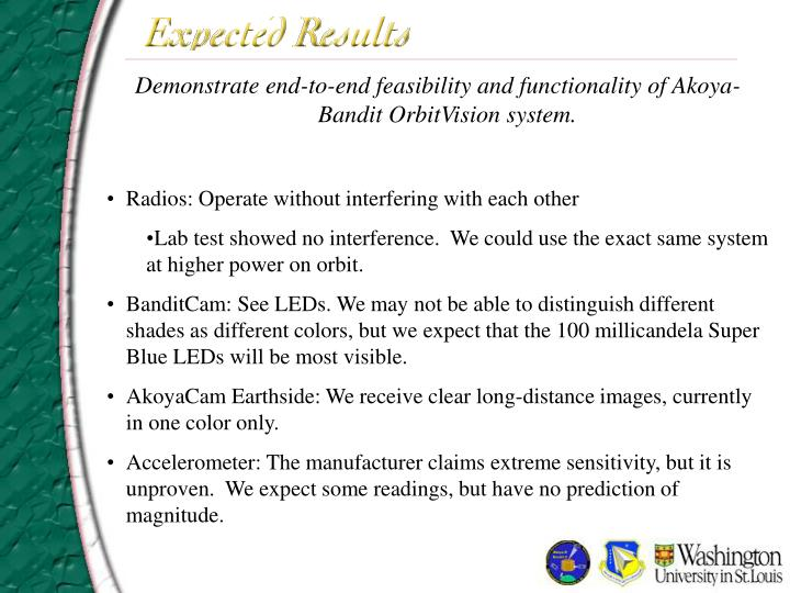 Demonstrate end-to-end feasibility and functionality of Akoya-Bandit OrbitVision system.