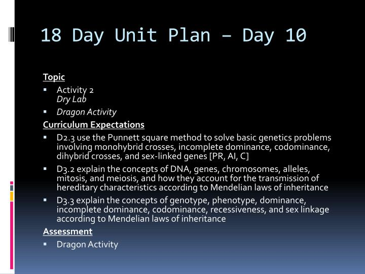 18 Day Unit Plan – Day 10