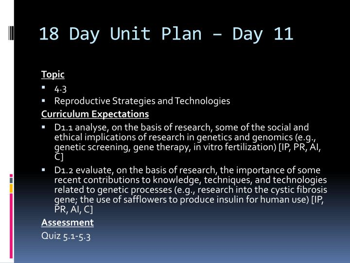 18 Day Unit Plan – Day 11