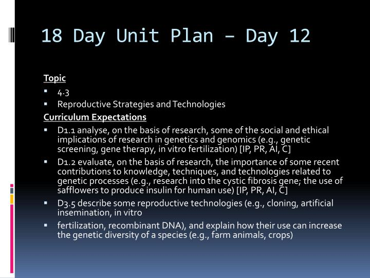 18 Day Unit Plan – Day 12