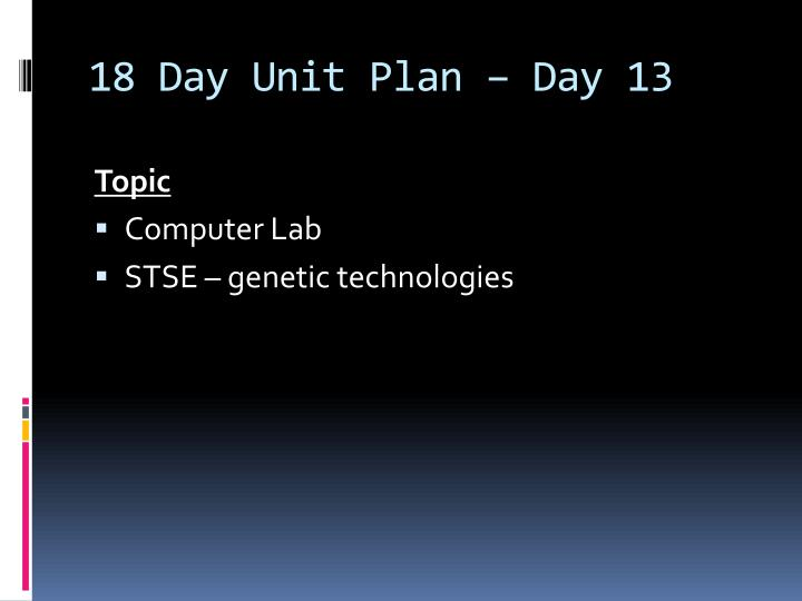 18 Day Unit Plan – Day 13