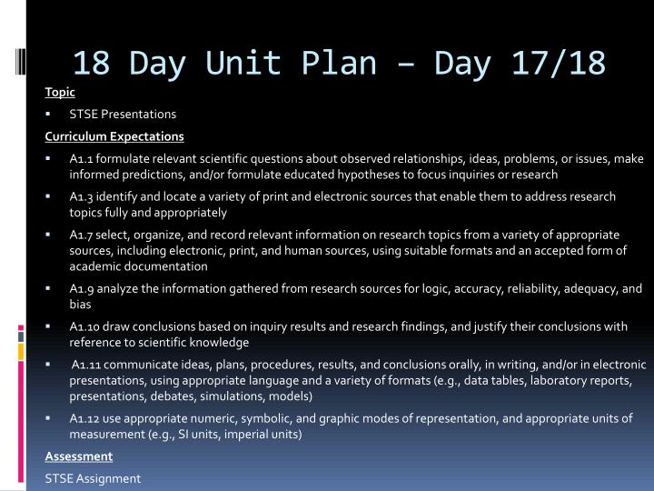 18 Day Unit Plan – Day 17/18