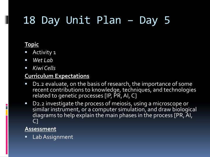 18 Day Unit Plan – Day 5