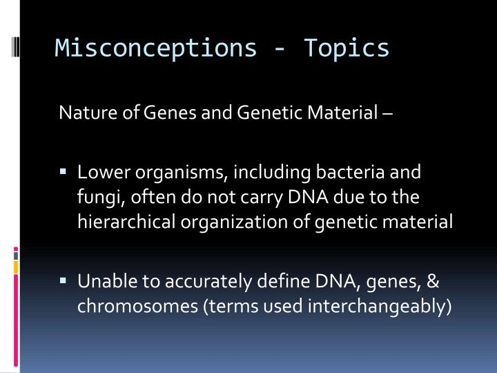 Misconceptions - Topics