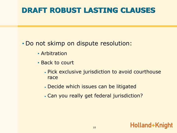 DRAFT ROBUST LASTING CLAUSES