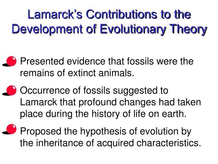 lamarcks influence on the development of darwins theory of evolution Darwin's theory of evolution - a theory in crisis in light of the tremendous advances we've made in molecular biology, biochemistry, genetics and information theory.