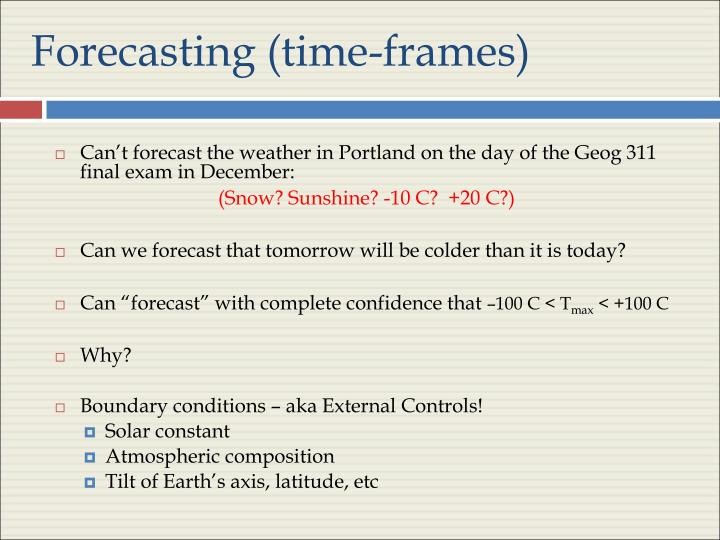 Forecasting (time-frames)