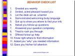 behavior check list