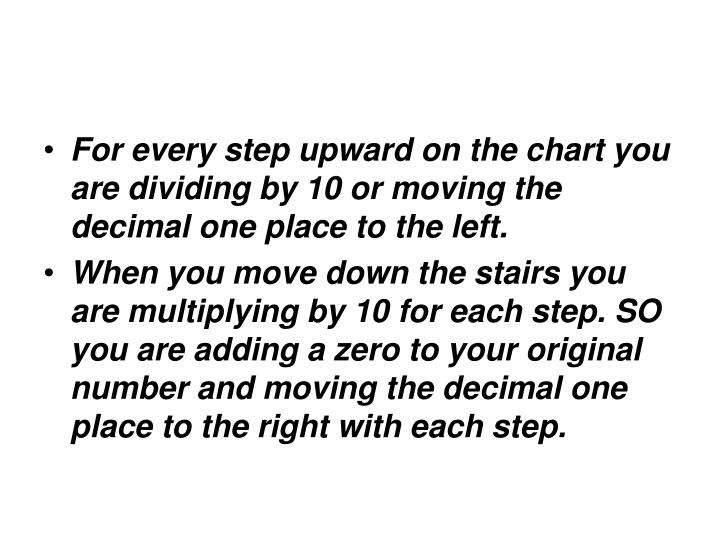 For every step upward on the chart you are dividing by 10 or moving the decimal one place to the left.
